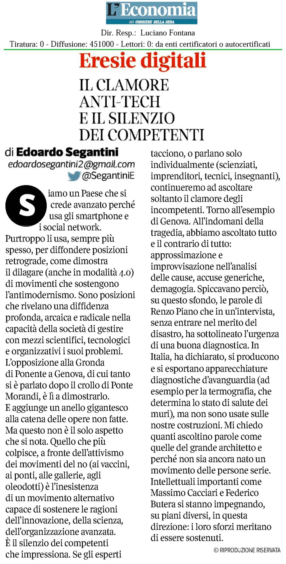 Eresie digitali, di Edoardo Segantini